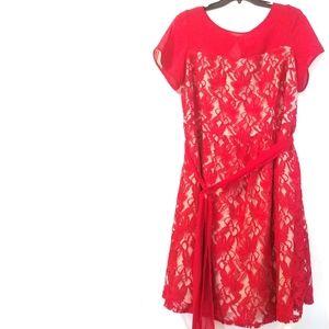 20W Julian Taylor Red Lace Illusion Dress